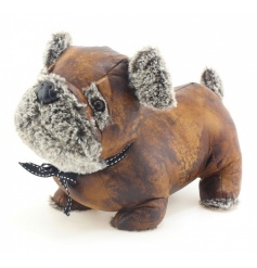 A charming faux leather and fur dog doorstop complete with a ribbon bow. A stylish and practical home accessory.