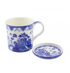 A classic blue willow design mug and coaster set. A great gift item.
