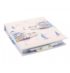 Stay organised with this cushioned notebook with pen. Complete with the popular sail away design.