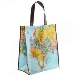 A stylish shopping bag with a world map design.