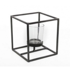 A contemporary square candle holder. A stylish accessory for the home.