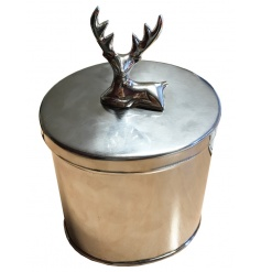 A classic silver metal trinket box with a stag design. A great office item and home accessory.