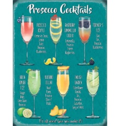 A retro themed metal sign with an assortment of Prosecco Cocktails