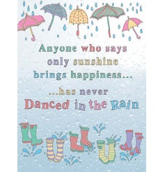 Complete with raindrops and umbrellas, this sign will bring joy and colour to any rooom