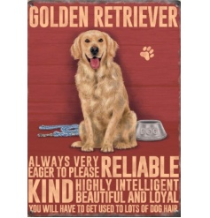 A sweet metal sign portraying the lovely traits of a golden retriever