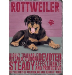 A mini metal sign portraying the lovely traits of a breed of dog