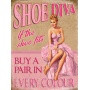 what better way to showoff your love of shoe than this quirky pink vintage metal sign.