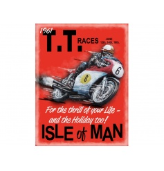 Vintage Red Metal Sign For T.T Racers