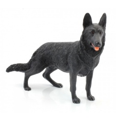 A fine quality black German Shepherd dog figurine from the Leonardo collection.