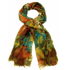 4 beautifully assorted multi toned scarves with an owl feather pattern.