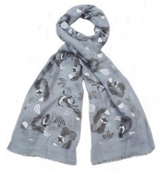 An assortment of 3 fabulous fox design scarves in grey and cream designs.
