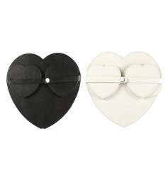 A set of 4 heart shaped coasters and placemats in black and white colours. Each is bound together making a stylish gift