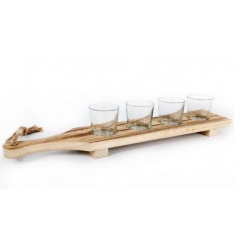 A stylish platter with 4 glass t-light holders.