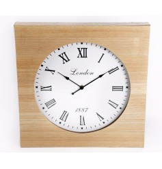 A stylish wooden clock with roman numerals.