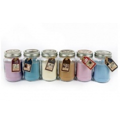 An assortment of 6 scented candles set within jam jars. A great gift item and home fragrance.