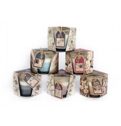 An assortment of 6 candles in layered colour designs.