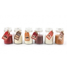 An assortment of warming and sweet scented candles set within attractive jam jars. A great gift item and home fragrance.