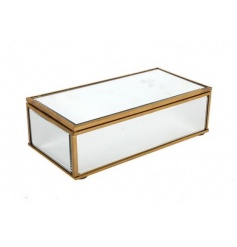 Keep your jewellery and trinkets safe with this stylish antique gold and mirror jewellery box.