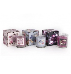 An assortment of 3 scented candles in a pretty romantic floral design.
