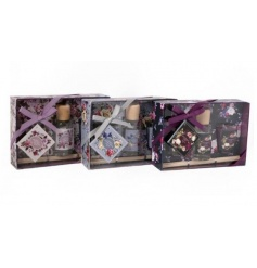 A beautifully scented and packaged fragrance gift set including 2 candle jars and a reed diffuser.