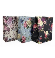 An assortment of 3 romantic floral gift bags with colour matching gift tags.