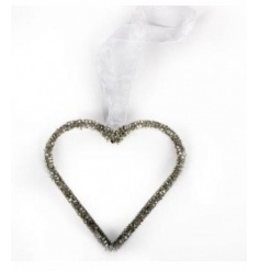 A sparkling silver hanging heart decoration with ribbon hanger.