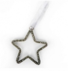 A sparkling silver beaded star decoration with ribbon hanger.