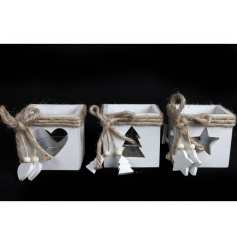 An assortment of 3 charming wooden t-light holders with star, tree and heart cut out designs.
