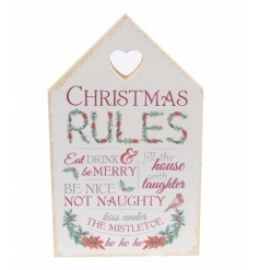 Stand or hang this traditional Christmas rules plaque in the home this season.