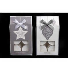 A set of 12 fragranced t-lights in festive packaging with a bow to finish.