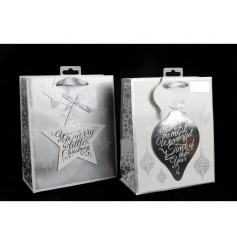 An assortment of white and silver gift bags with a star and bauble Christmas slogan design.