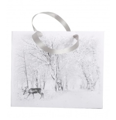 An assortment of 2 stunning winter wonderland gift bags with a reindeer design. Complete with ribbon handle and tags