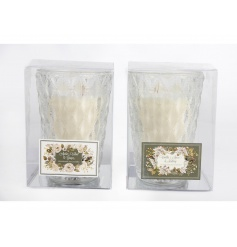 An assortment of 2 cream and gold candles set within cut glass candle pots.