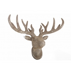Make a statement with this light weight gold glitter stag head. A stunning feature for the home this season.
