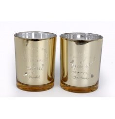 An assortment of 2 large glass t-light holders with festive slogans. A beautiful decorative accessory.