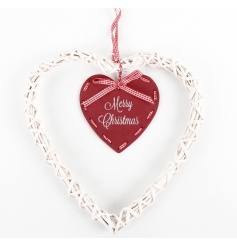 A nordic style heart garland with a hanging Merry Christmas sign and gingham bow.