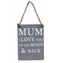 Mum I love you to the moon & back grey mini metal sign