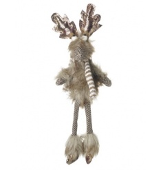 A charming woodland style reindeer decoration made from a tweed style fabric and faux fur.