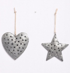 A mix of 2 zinc star and heart hangers, each decorated with cut out stars. Complete with jute string hangers.