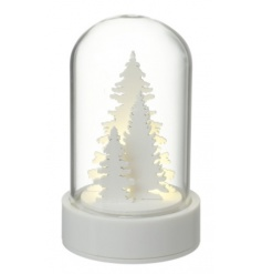 A charming festive dome filled with a winter forest scene and LED lights.