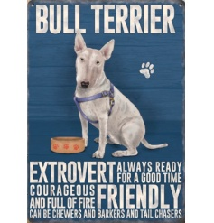 A mini metal English Bull Terrier dog breed sign with breed characteristics. Complete with jute string hanger.