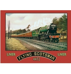 A fine quality vintage metal sign with the Flying Scotsman train.