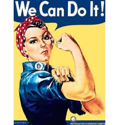 A large vintage metal sign with the iconic We Can Do It Slogan and image.