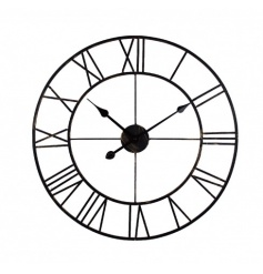 A large metal clock in black with roman numerals. A unique design making a stylish feature in any home.