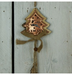 A rustic style wooden tree garland with a rustic bell, hessian bow and a decorative copper plate.