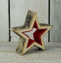 A rustic style 3D star decoration with a red felt centre.