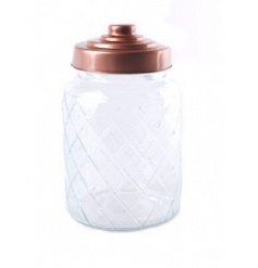 This stylish diamond ridged glass jar complete with a copper tiered lid is perfect for any home