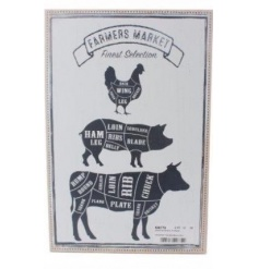 A rustic style farmers market plaque with chicken, pig and cow illustrations. A great feature piece for the kitchen.
