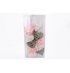 These stylish woven heart lights finished in a pastel grey, pink and white colour will add a homely touch to any room.