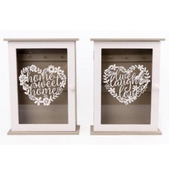 """This sweet set of two Key holder boxes are perfectly finished with the 'Love Laugh Live' quote and """"home Sweet Home"""" cu"""